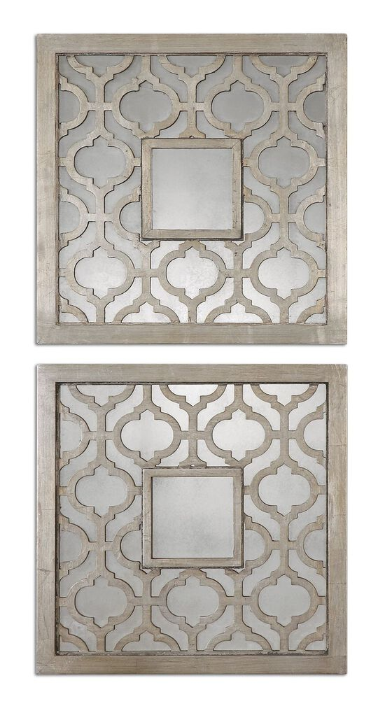"""Two-Piece 20"""" Trellis Accent Mirrors in Antiqued Silver Leaf"""