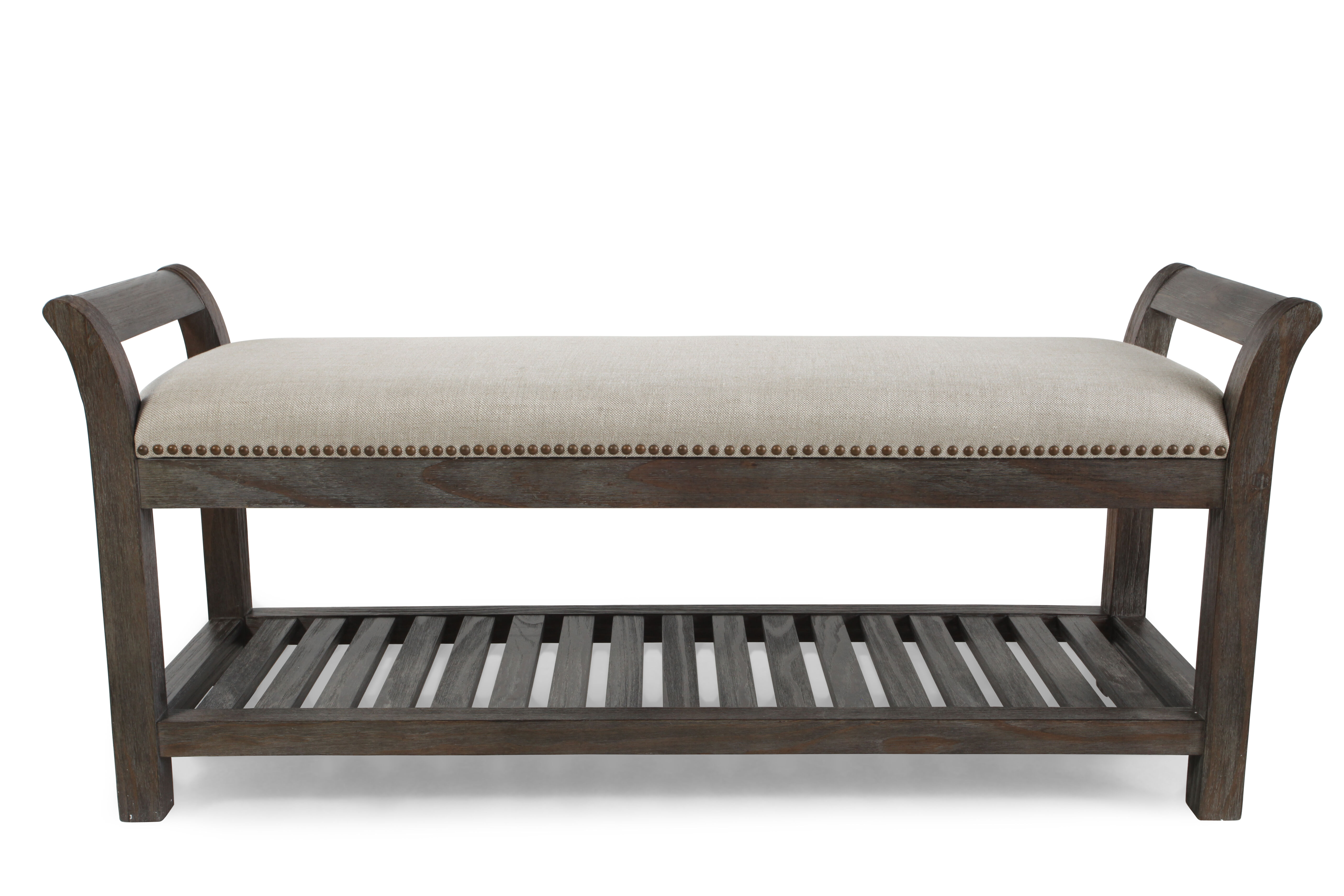 Nailhead Accented Casual 54.5u0026quot; Bed Bench In Cream
