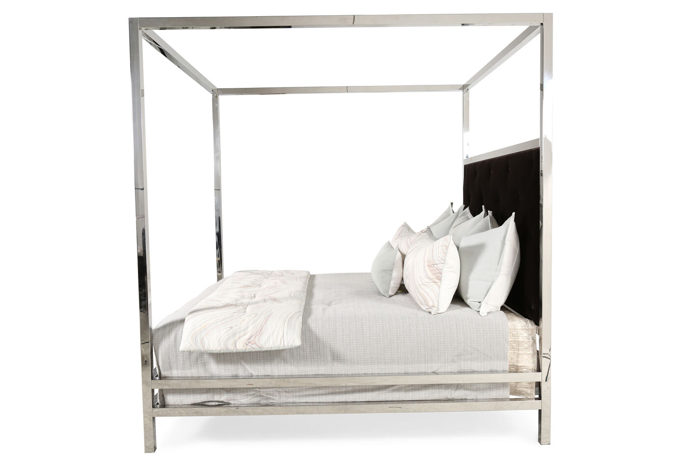 90 modern stainless steel poster bed in silver mathis - Stainless steel bedroom furniture ...