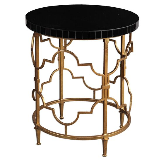 Quatrefoil Accent Table in Antiqued Gold Leaf