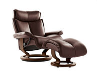Contemporary Large Swivel Chair and Ottoman in Chocolate