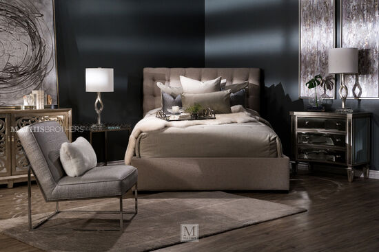 57 Quot Transitional Button Tufted Platform Bed In Beige