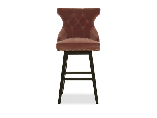 Contemporary Nailhead-Accented Bar Stool in Brown
