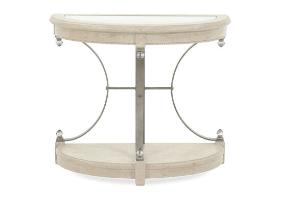 Glass Inset Oval End Table in Beige