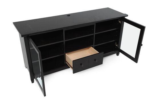 Three-Adjustable Shelf Contemporary Entertainment Credenza in Black