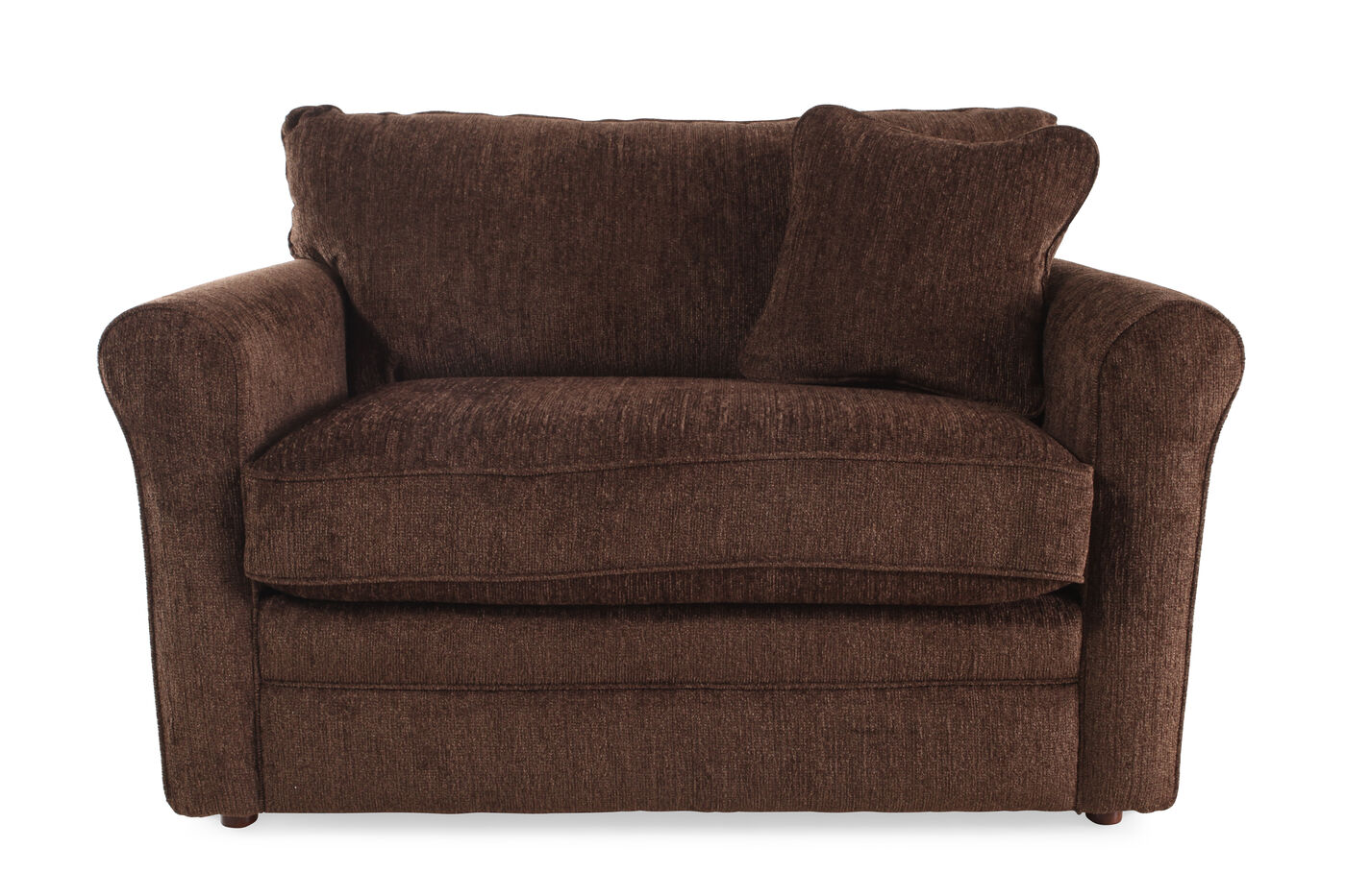 """Rolled Arm Contemporary 54"""" Twin Sleeper Chair in Brown ..."""