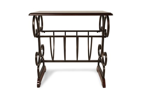 Square Magazine Rack Contemporary Chairside Table in Dark Cherry