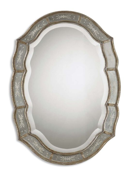 35'' Etched Accent Mirror in Antiqued Gold Leaf
