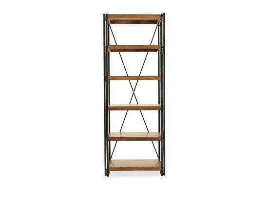 Five-Shelf Casual Bookcase in Medium Brown