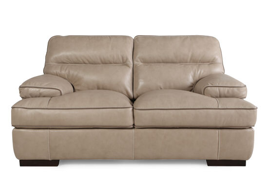 """Contemporary Leather 69"""" Loveseat in Wheat"""