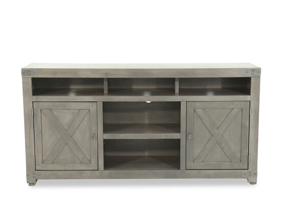 X-Door Front Traditional Console in Medium Gray