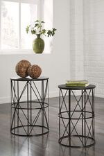 Two-Piece Contemporary Glass-Top Nesting End Tables in Black
