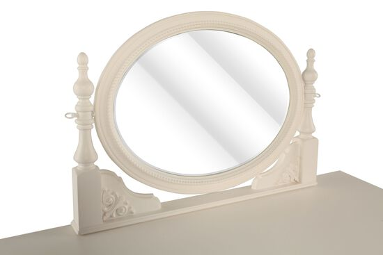Leaf-Carved Traditional Youth Vanity Mirror in Light White
