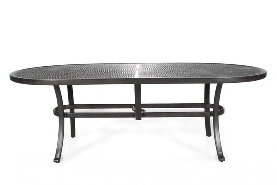 Textured Aluminum Oval Dining Table in Brown