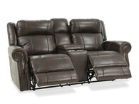 Boulevard Rockwood Leather Brown Power Reclining Loveseat with Console