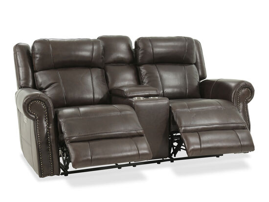 "Power Reclining Casual Leather 89""Loveseat with Console in Brown"