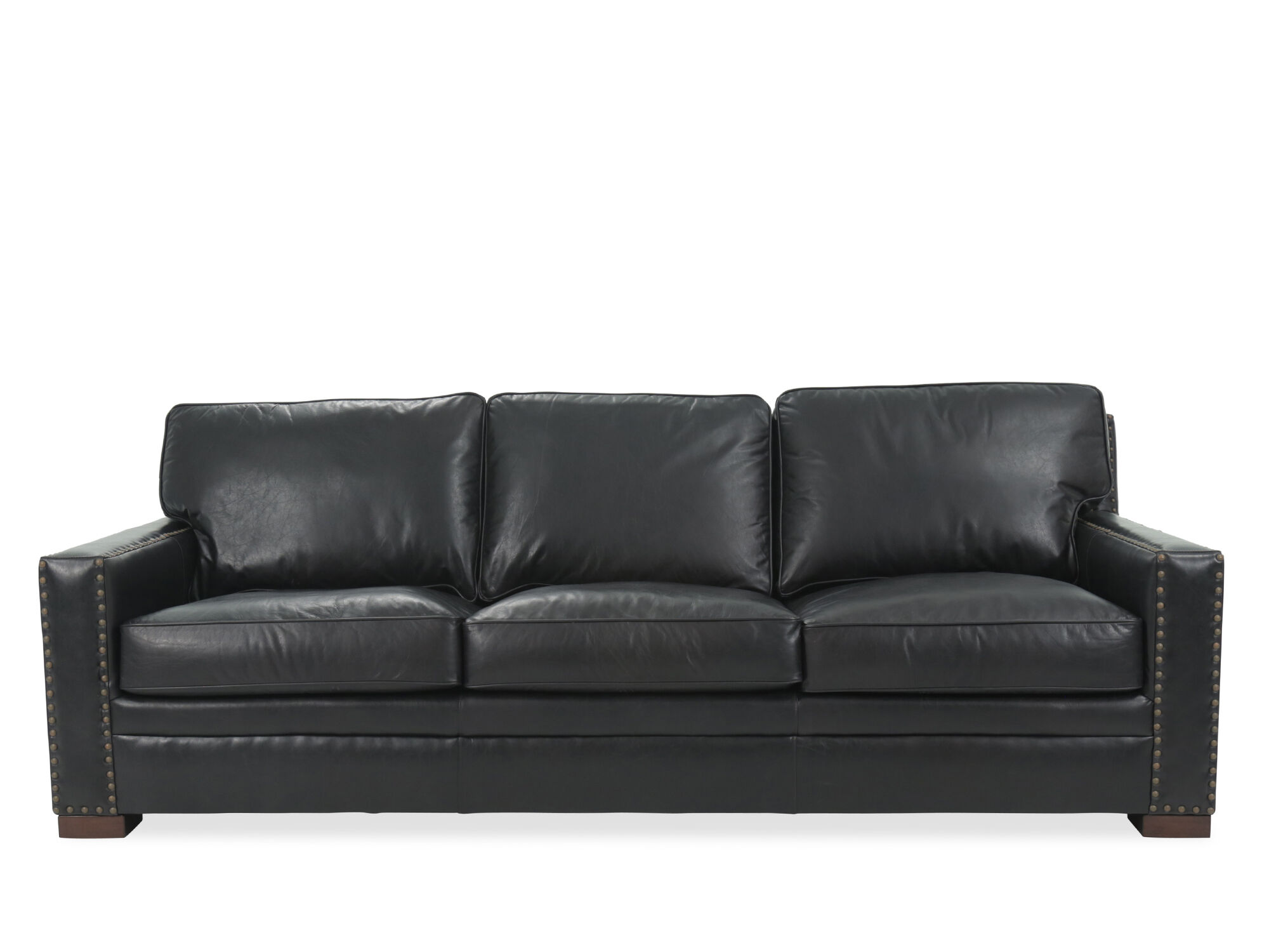 Images Nailhead Accented Leather Sofa In Black ...
