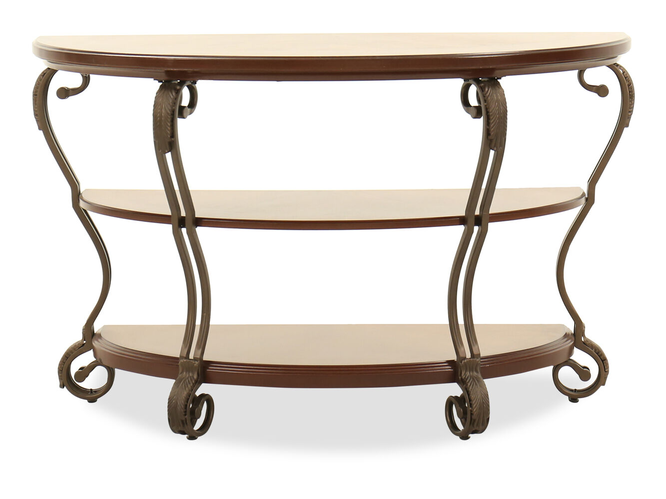 Scrolled legs traditional sofa table in burnished bronze for Traditional sofas with legs