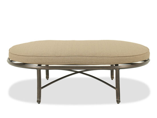 X-Motif Distressed Oval Cocktail Ottoman in Bronze