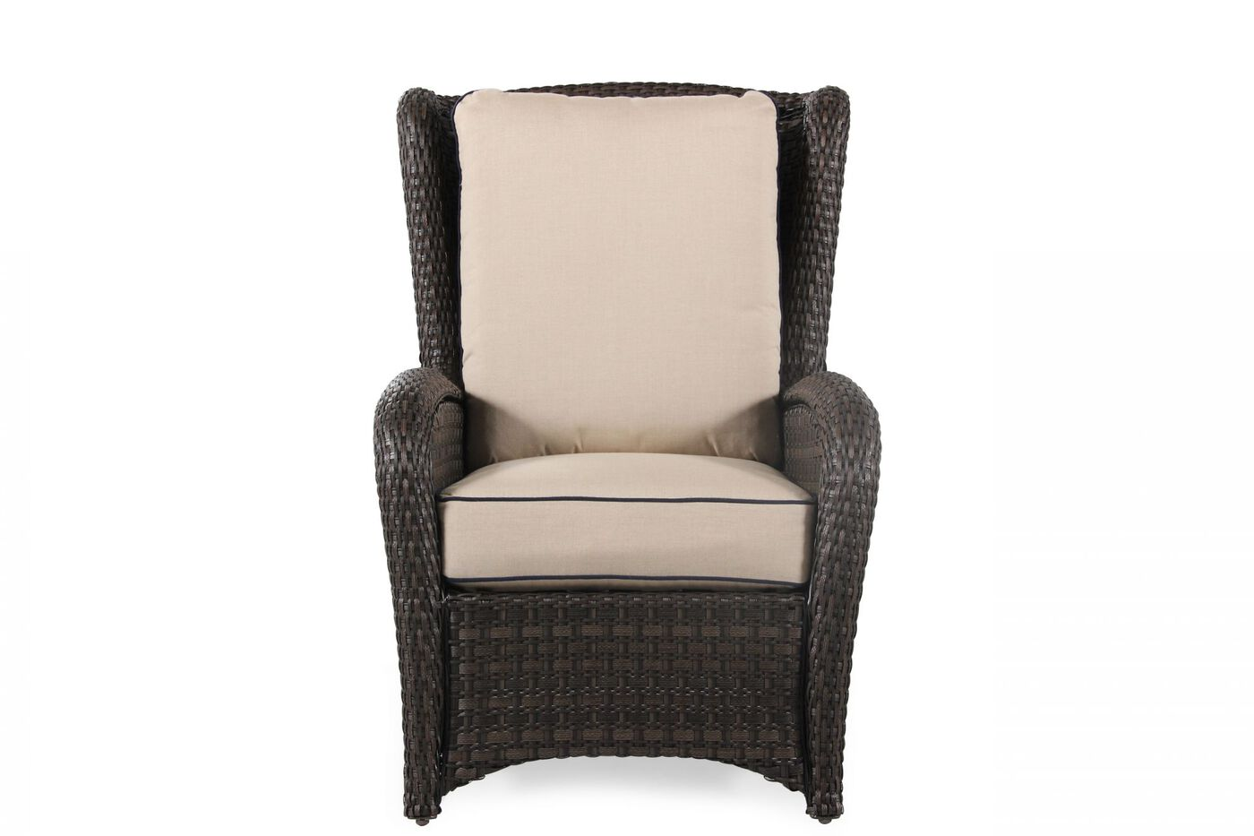 Wing back contemporary woven chair in beige mathis for Back porch furniture sets