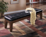Ashley Larchmont Burnished Dark Brown Extra Large Upholstered Dining Room Bench