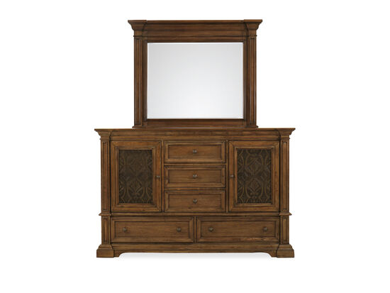 Two-Piece Traditional Dresser & Mirror in Brown