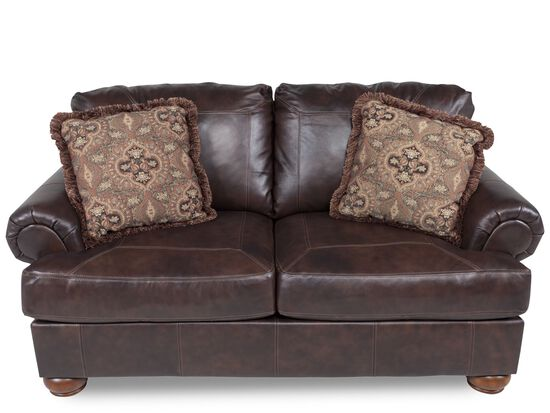 "Traditional Leather 75"" Loveseat in Walnut"