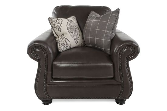 "Nailhead-Trimmed Contemporary 41"" Chair in Dark Brown"