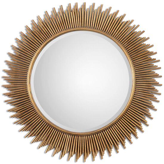 """36"""" Tube Frame Round Mirrorin Antique Gold Leaf"""