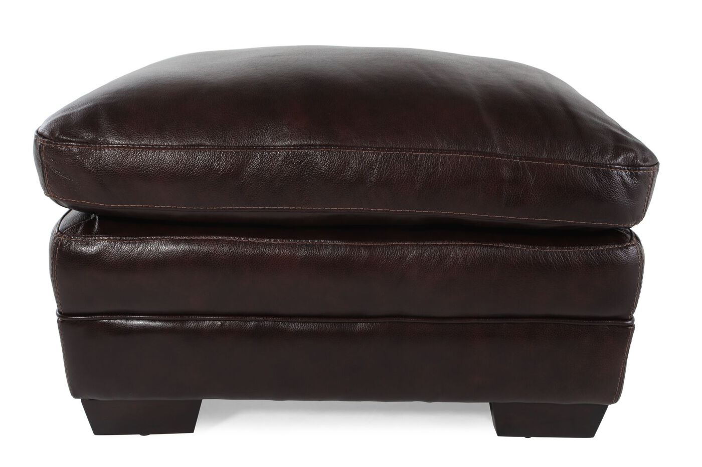 "Contemporary 31"" Leather Ottoman In Brown"