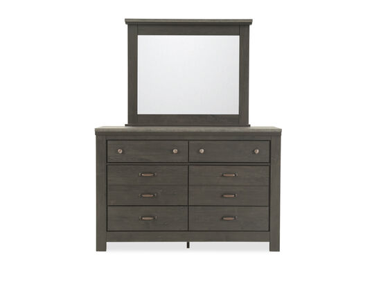 Six-Drawer Contemporary Youth Dresser and Mirror in Charcoal