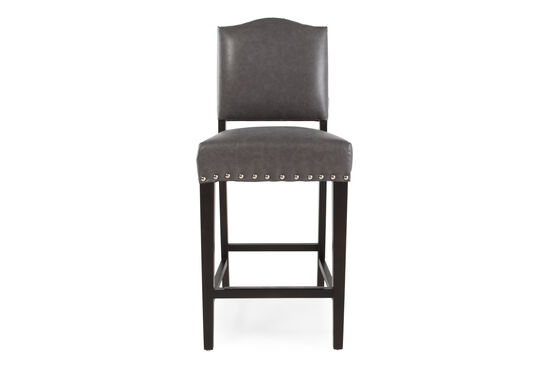 """Traditional 37"""" Nailhead Accented Bar Stool in Gray"""