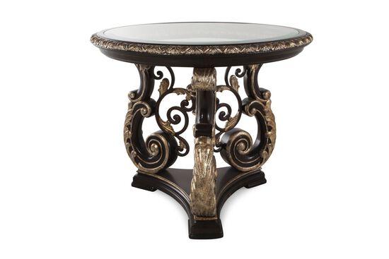 Carved Round Formal Lamp Tablein Dark Grandeur