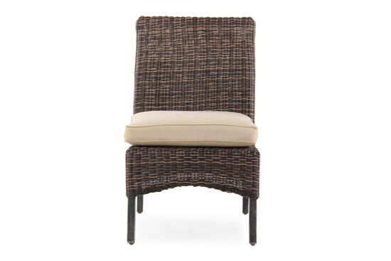 Contemporary Woven Armless Chair in Dark Brown