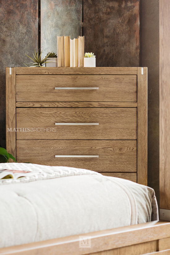 """55"""" Traditional Five-Drawer Chest in Brown"""