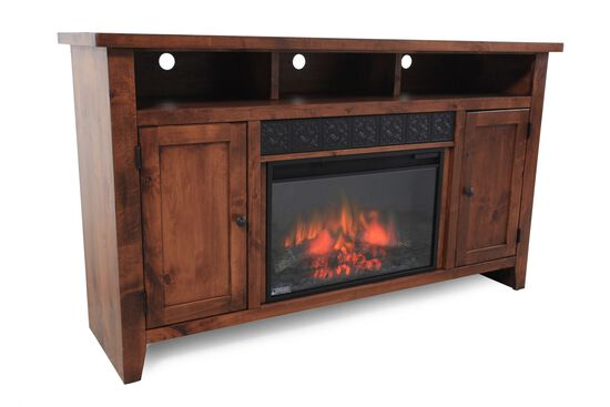Adjustable Shelf Traditional Fireplace Console In Fruitwood Mathis Brothers Furniture