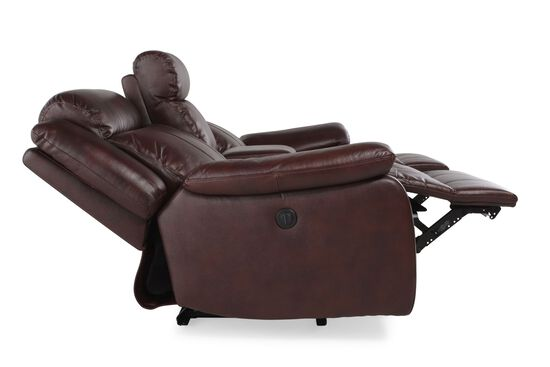 """Power Reclining Leather 78"""" Loveseat with Console in Medium Brown"""