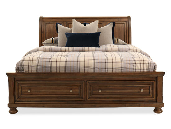 """57"""" Transitional Paneled Sleigh Storage King Bed in Brown"""