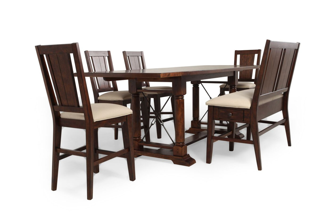 Broyhill Attic Rustic Oak SixPiece Pub Set Mathis Brothers - Broyhill counter height dining set