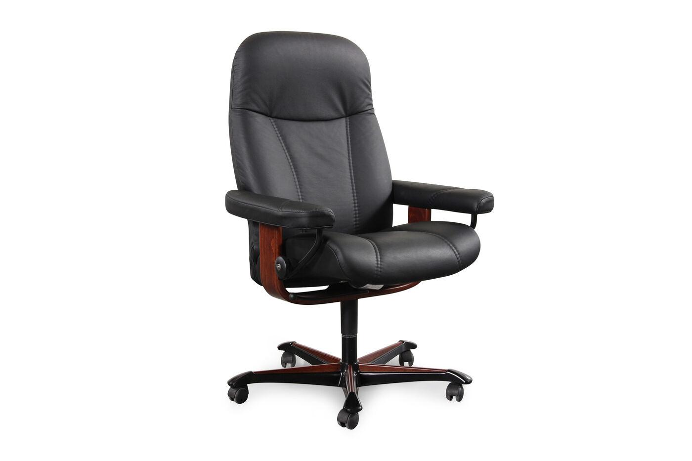 Leather Ergonomic Swivel Office Chair In Black Mathis