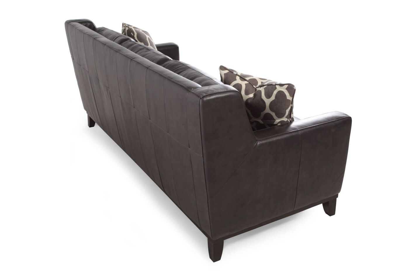 "Button Tufted Leather 80"" Sofa in Dark Gray"
