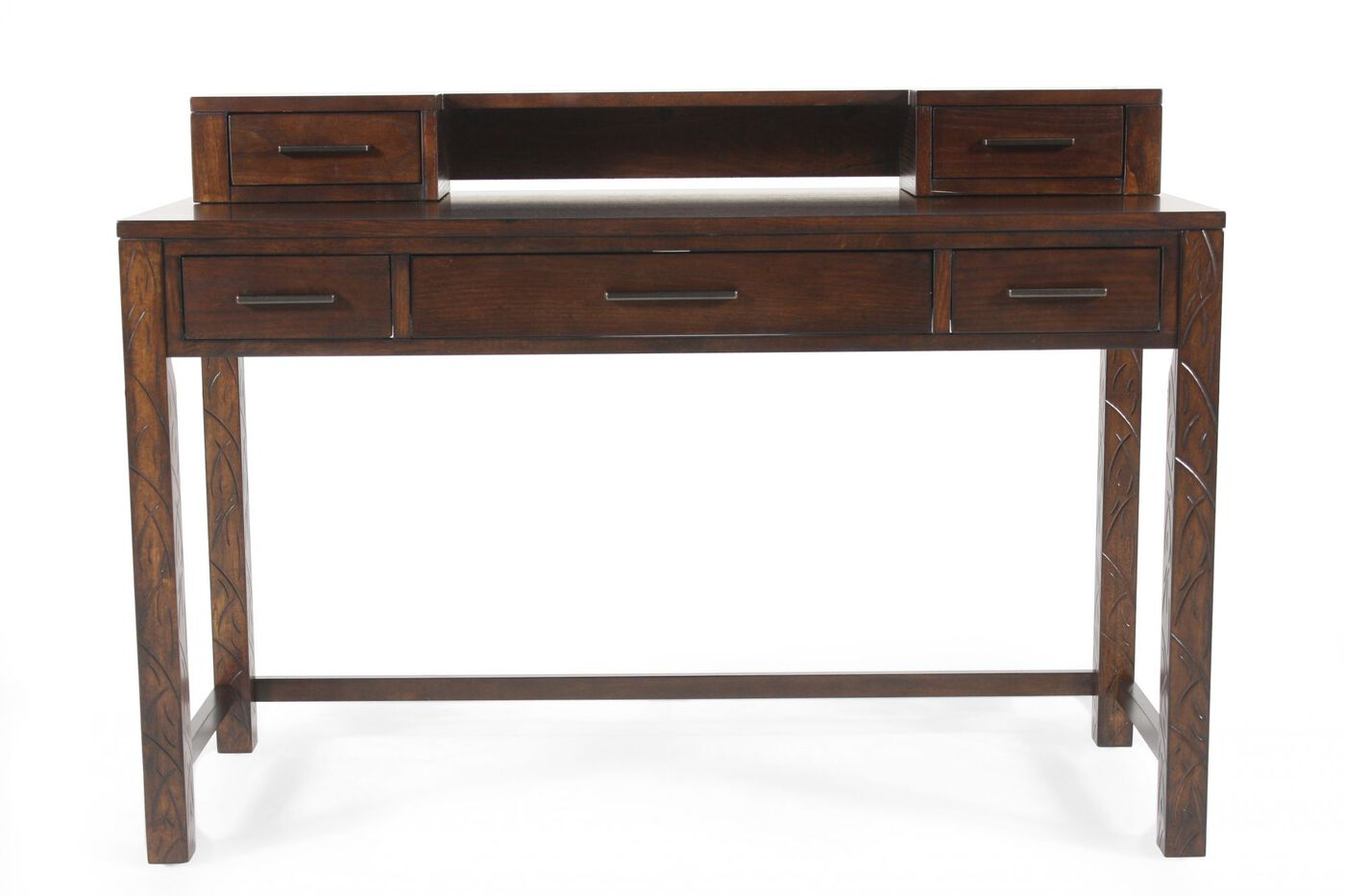 Five drawer traditional sofa table in dark chestnut Traditional console tables living room