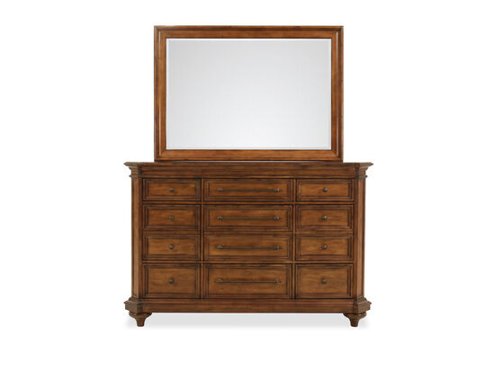 Two-Piece Traditional Dresser and Mirror in Saddle Brown