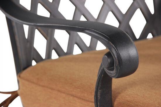 Lattice-Back Aluminum Swivel Bar Chair with Cushion in Black