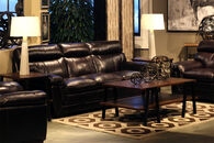 "Leather Contemporary 91"" Sofa in Blackberry"