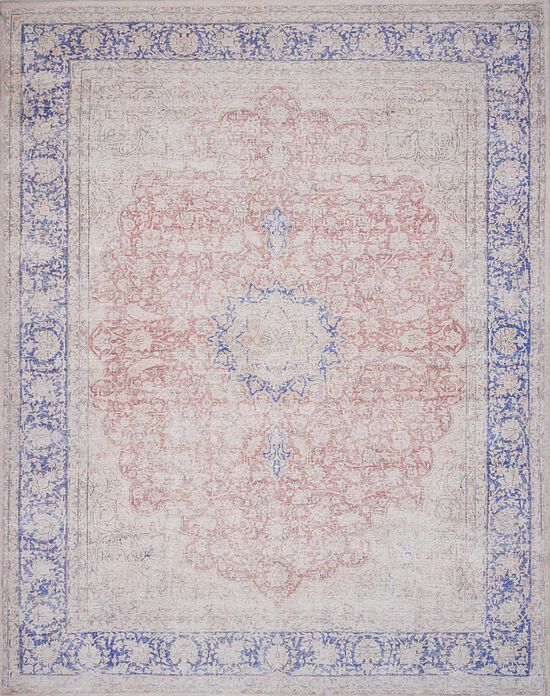 """Traditional 1'-6""""x1'-6"""" Square Rug in Terracotta/Blue"""