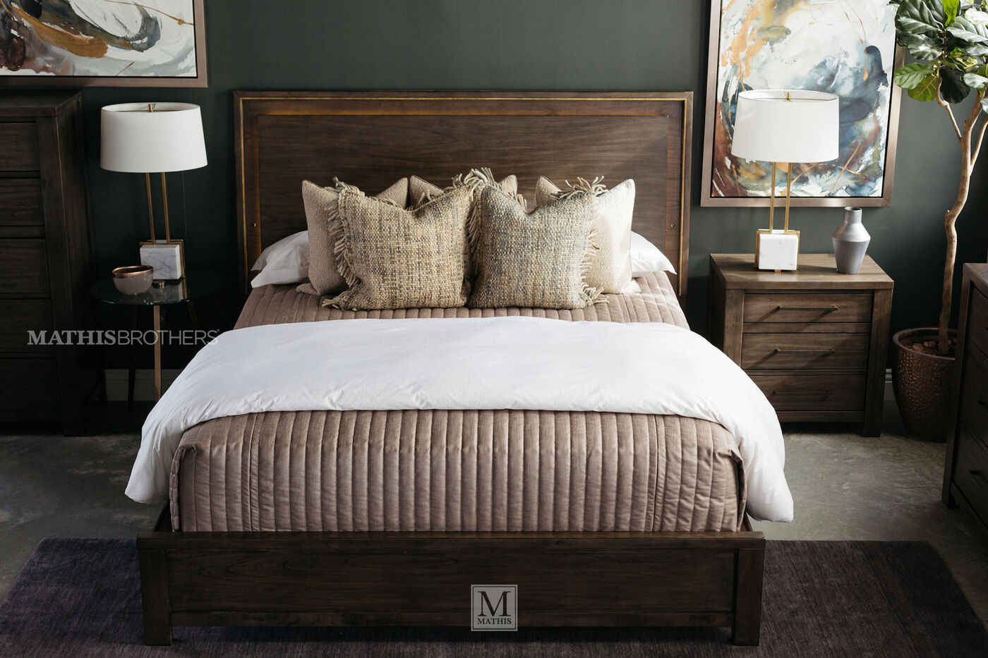 Contemporary Weathered Panel Bed In Dark Gray Mathis