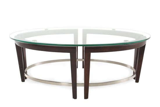 Glass top oval contemporary cocktail table in hazelnut for Contemporary glass cocktail tables