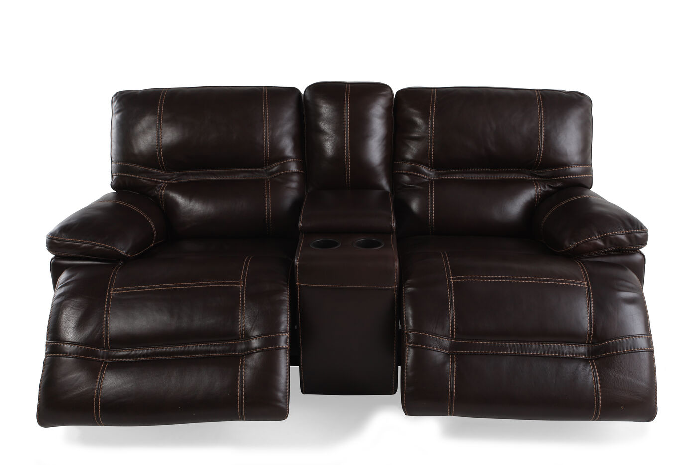 Reclining Contemporary 76 Loveseat Glider With Console In