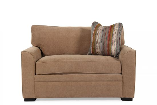 "Transitional 54"" Sleeper Loveseat in Coffee"